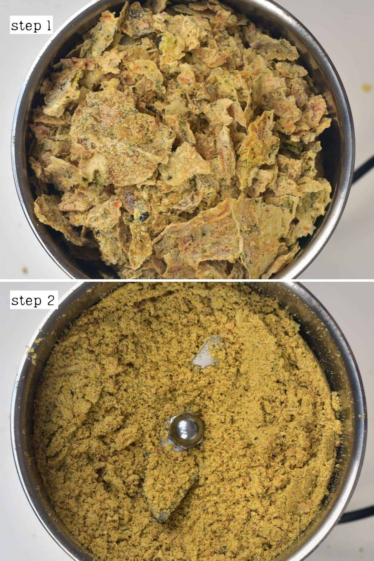 Grinding vegetable stock into powder