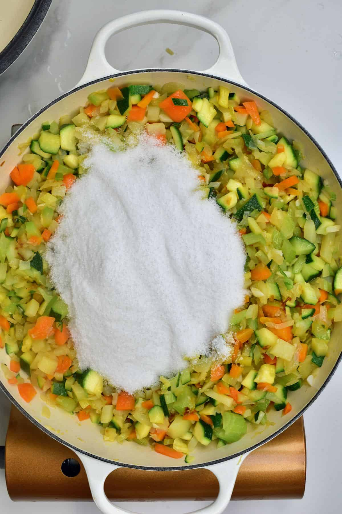 Salt added to cooked vegetables