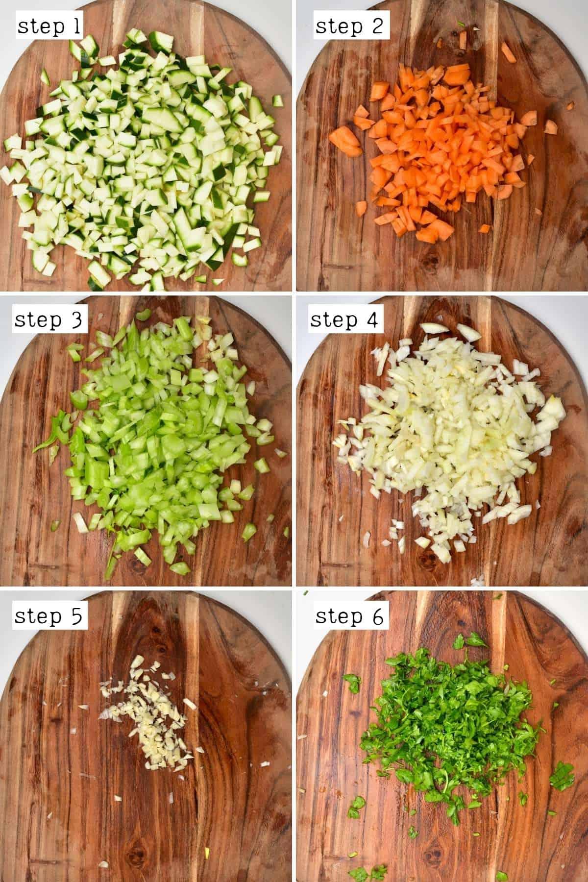 Steps for chopping vegetable