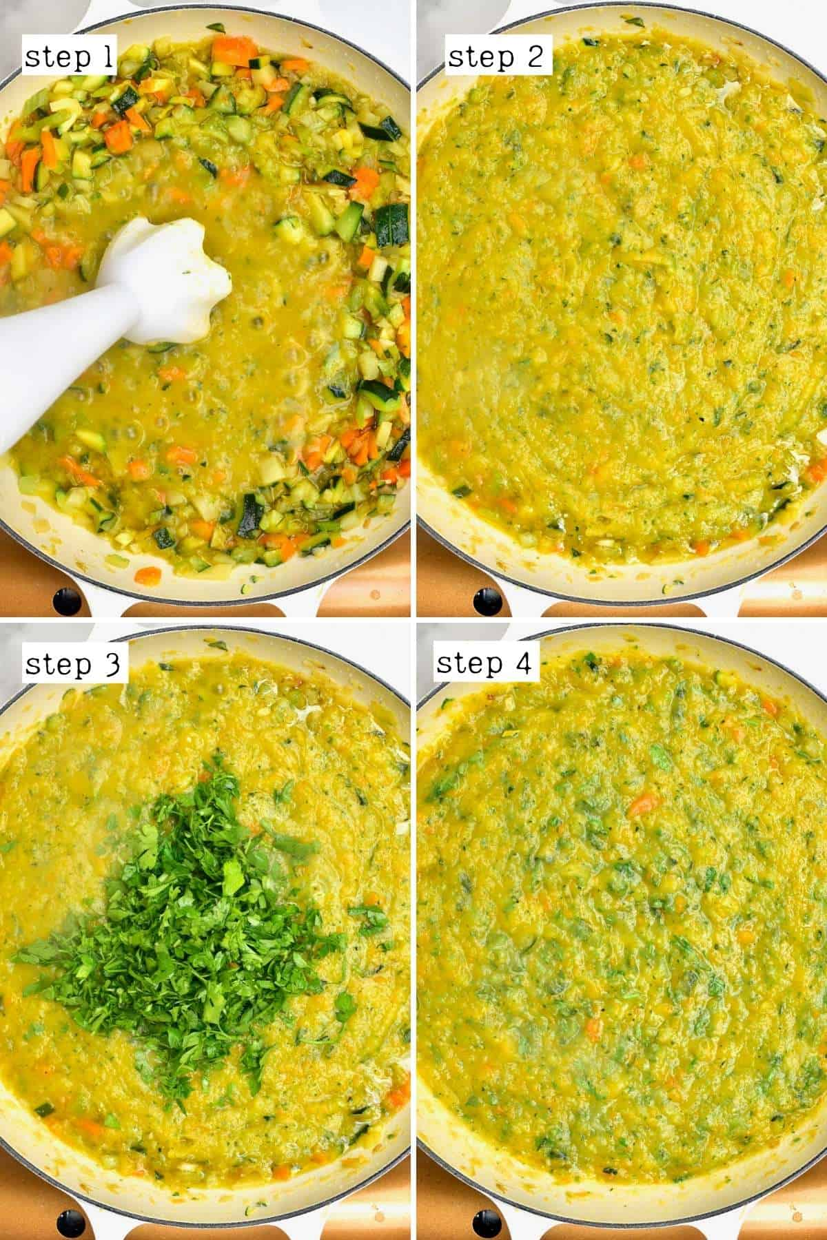 Steps for making vegetable stock puree