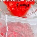 Making Watermelon juice in a nut milk bag
