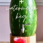 Watermelon dispenser keg and watermelon juice in a glass