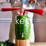 Pouring watermelon juice in a watermelon dispenser