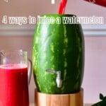 Pouring Watermelon juice in a watermelon keg