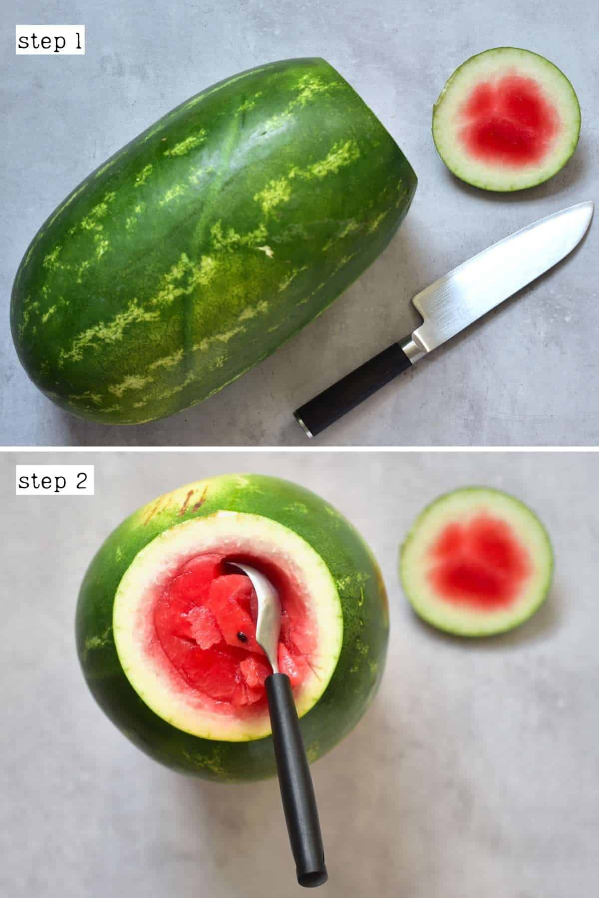 Steps for cutting a watermelon