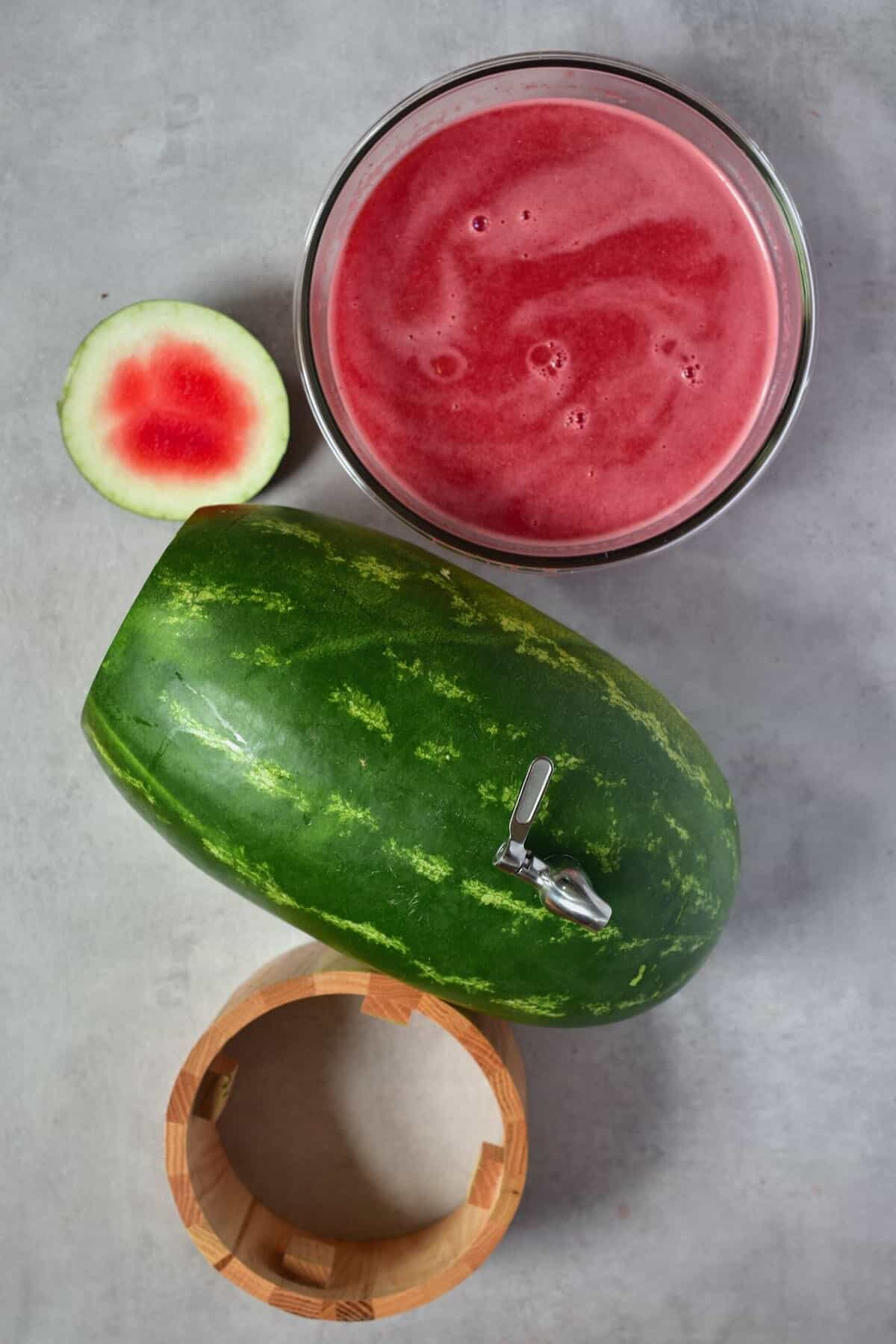 Watermelon keg and juice in a bowl