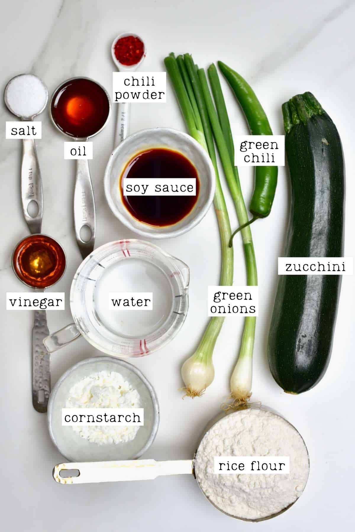 Ingredients for Korean zucchini fritters