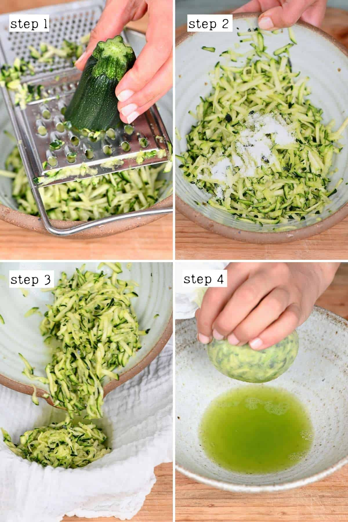 Steps for grating and salting a zucchini