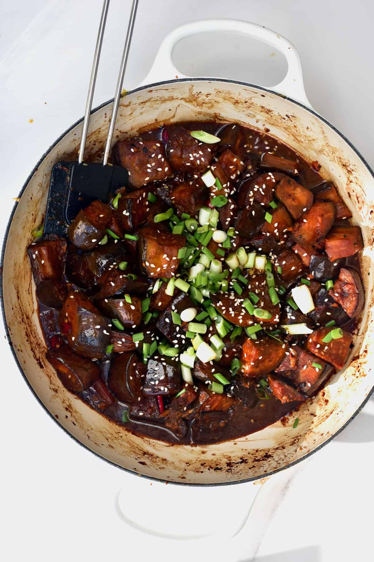Braised eggplant in a pot