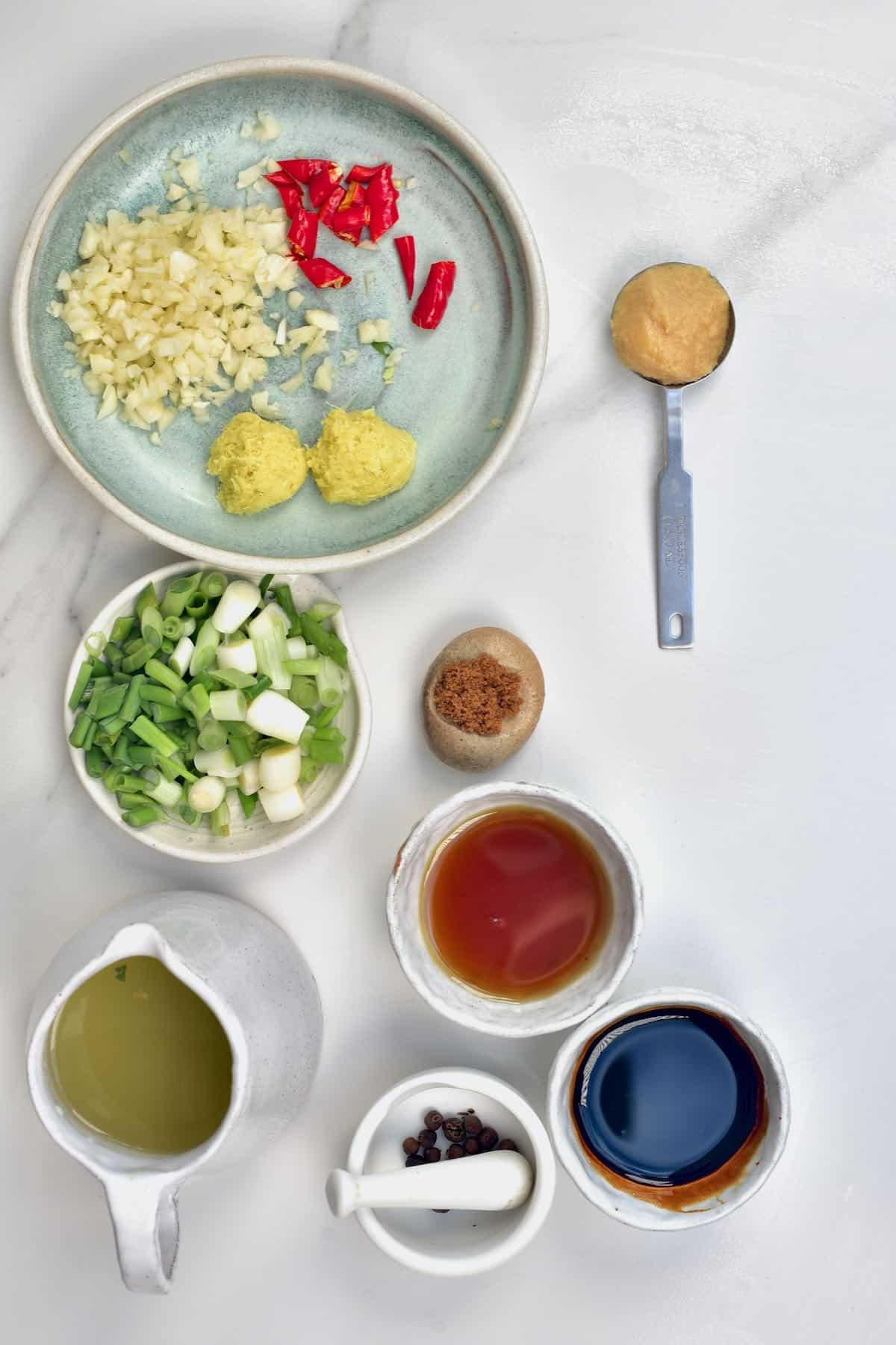 Prepared ingredients for braised eggplant