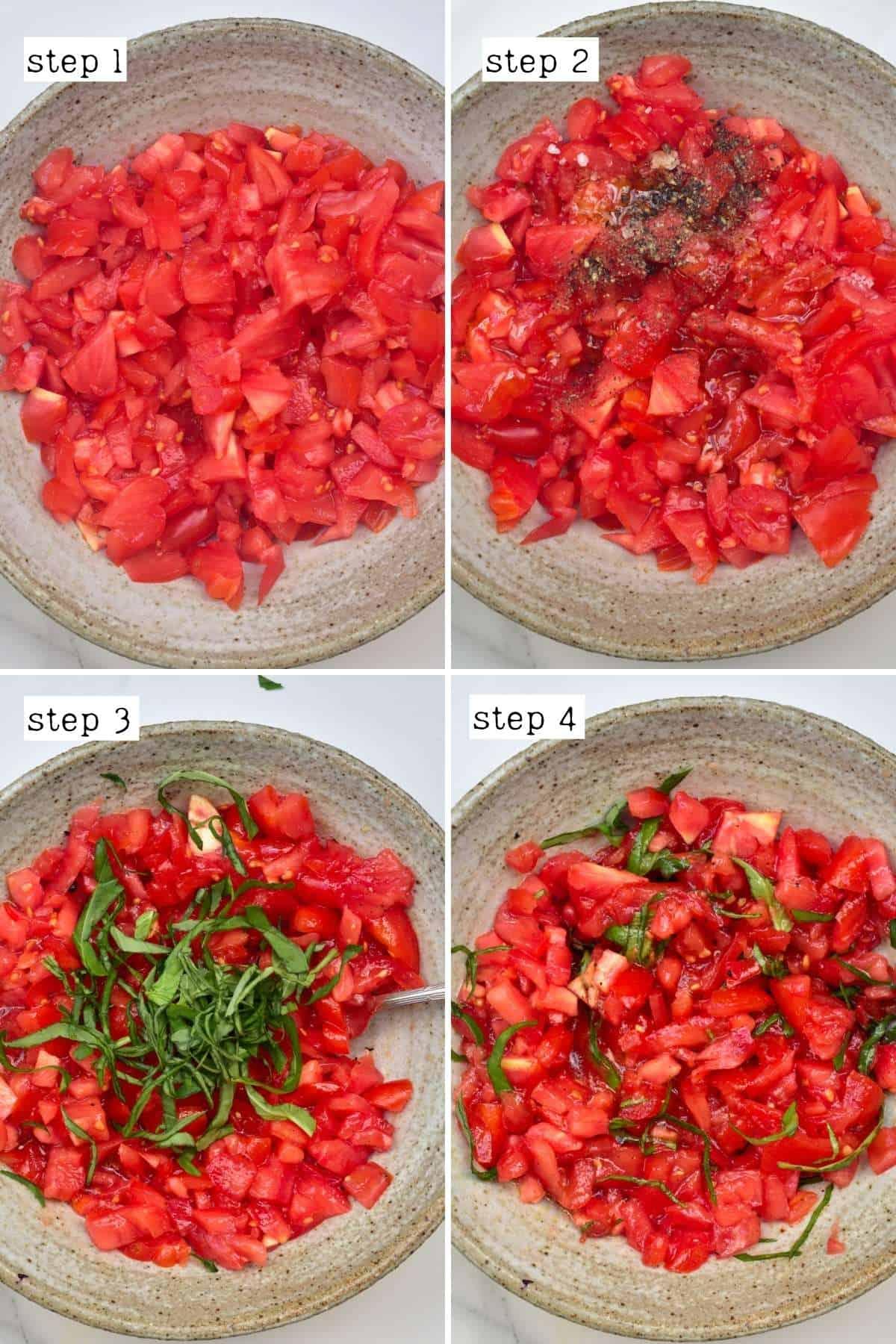 Steps for preparing tomato bruschetta