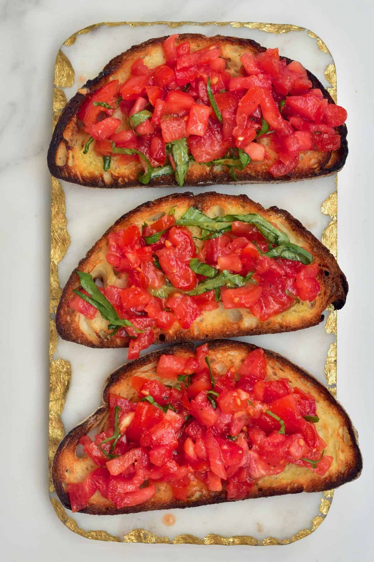 Three tomato bruschetta