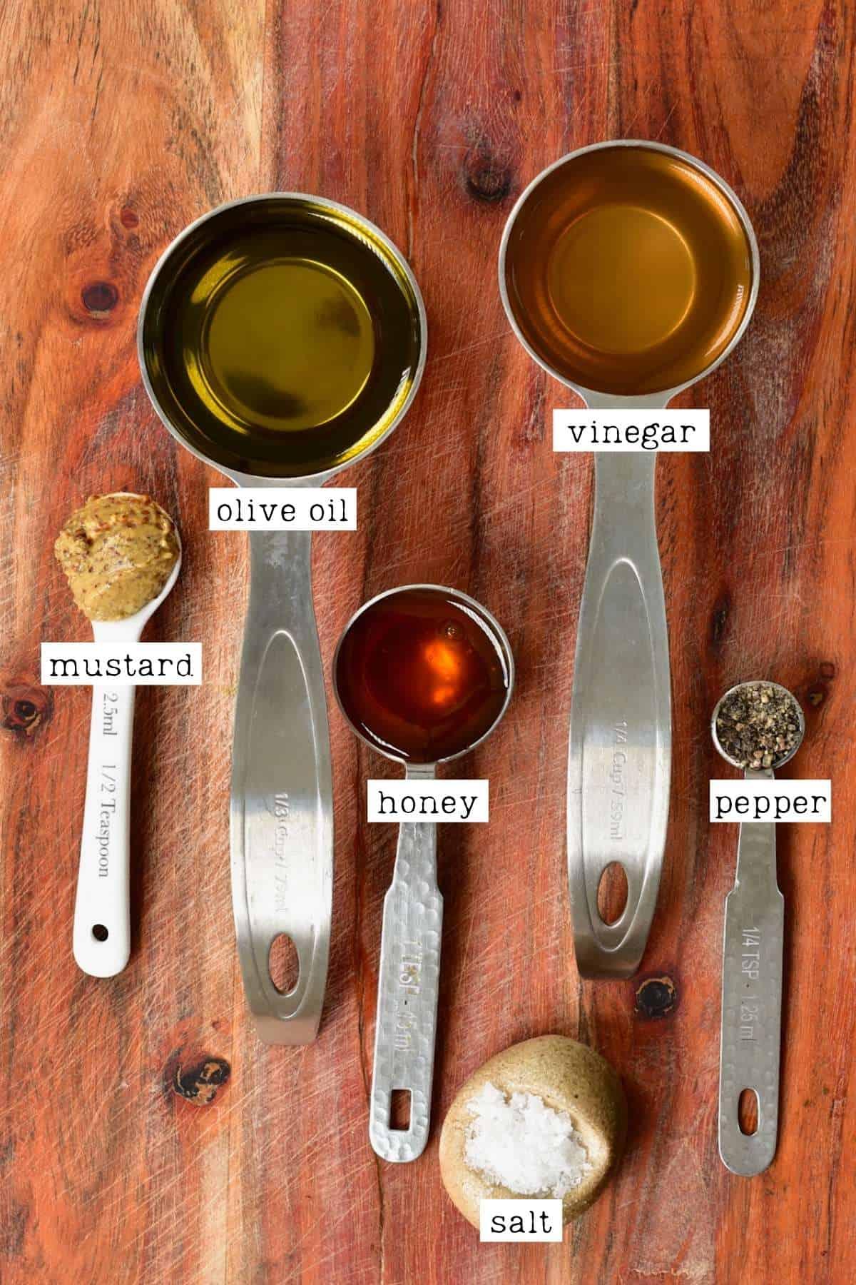 Ingredients for honey mustard dressing