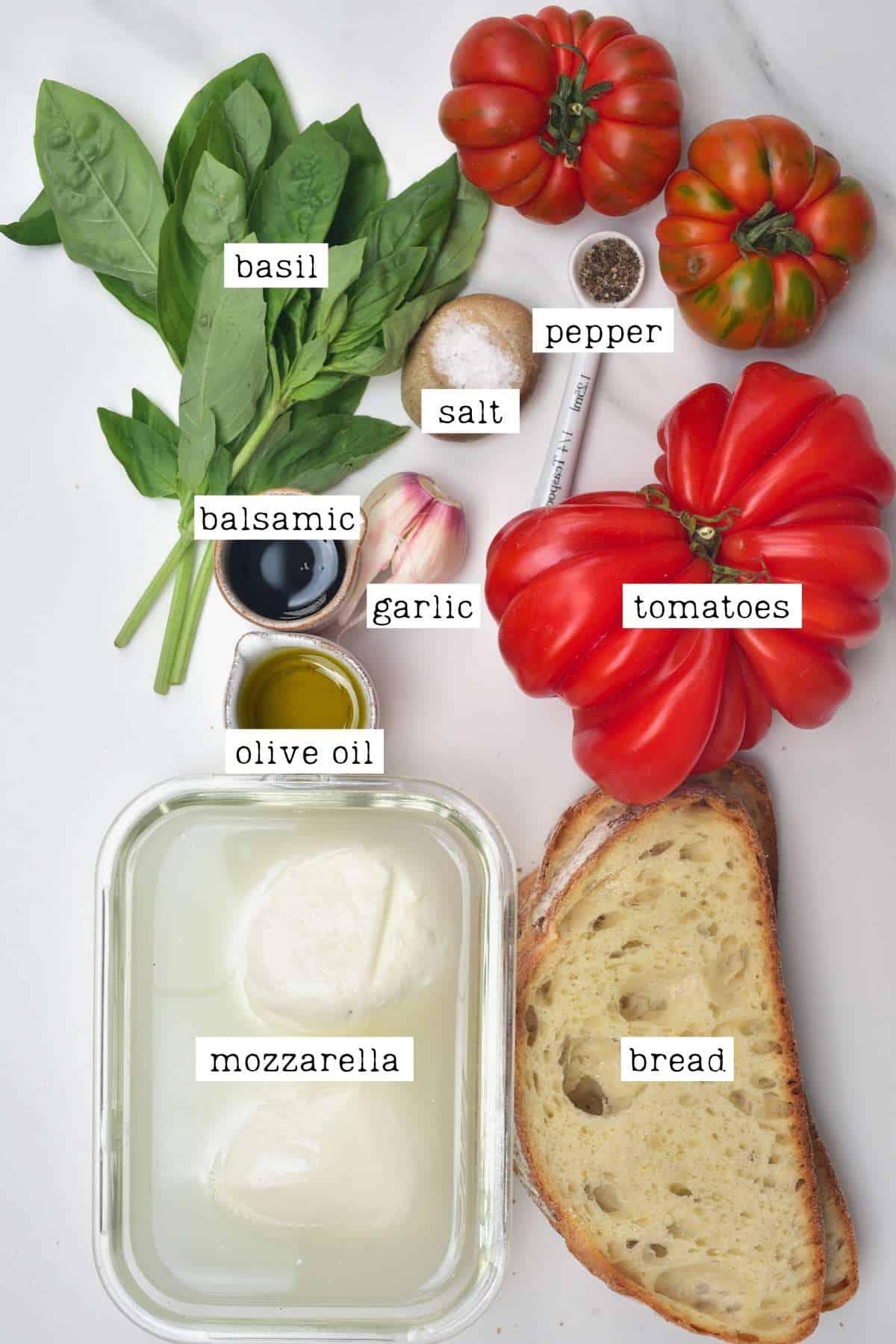 Ingredients for mozzarella tomato bruschetta
