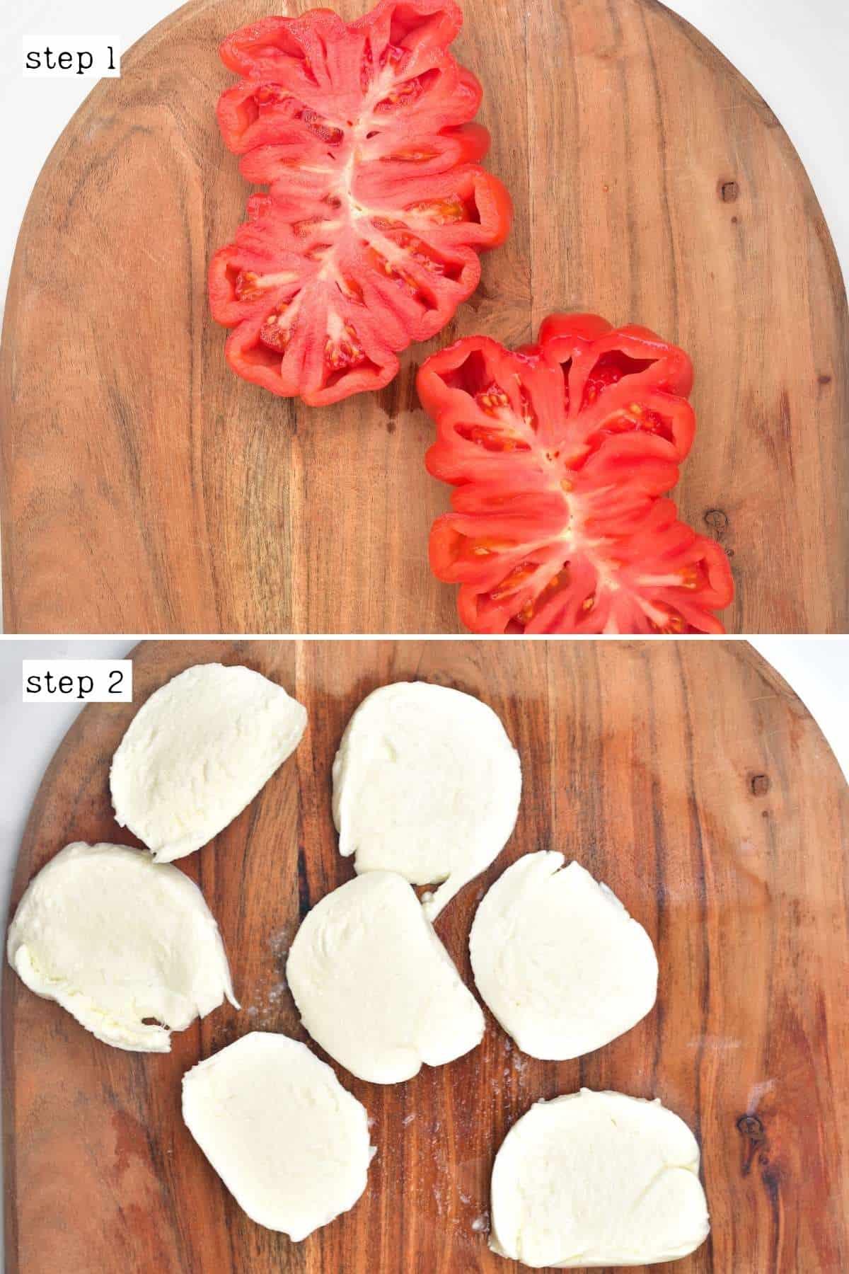 Sliced tomato and mozzarella