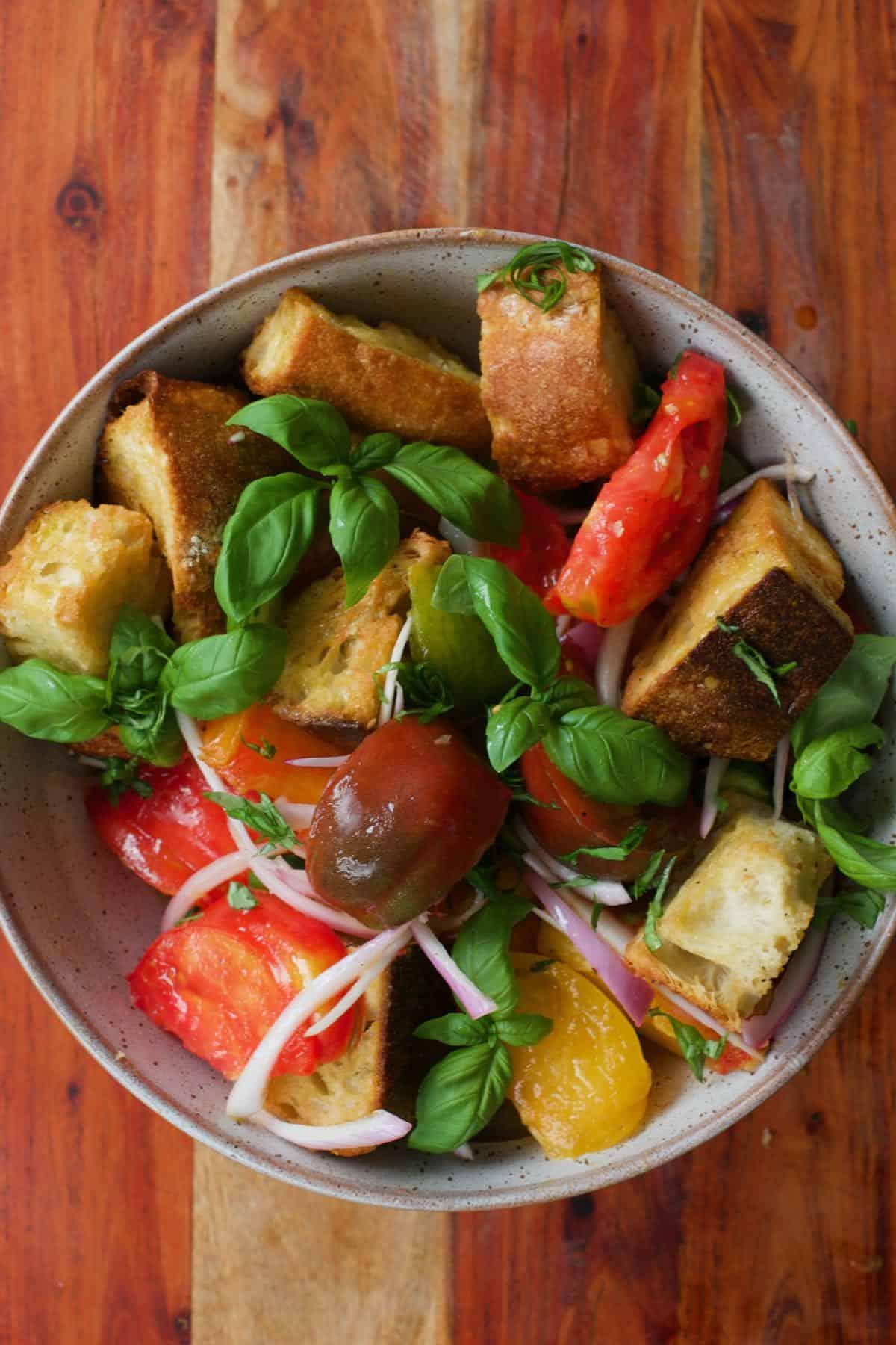 A bowl with panzanella salad