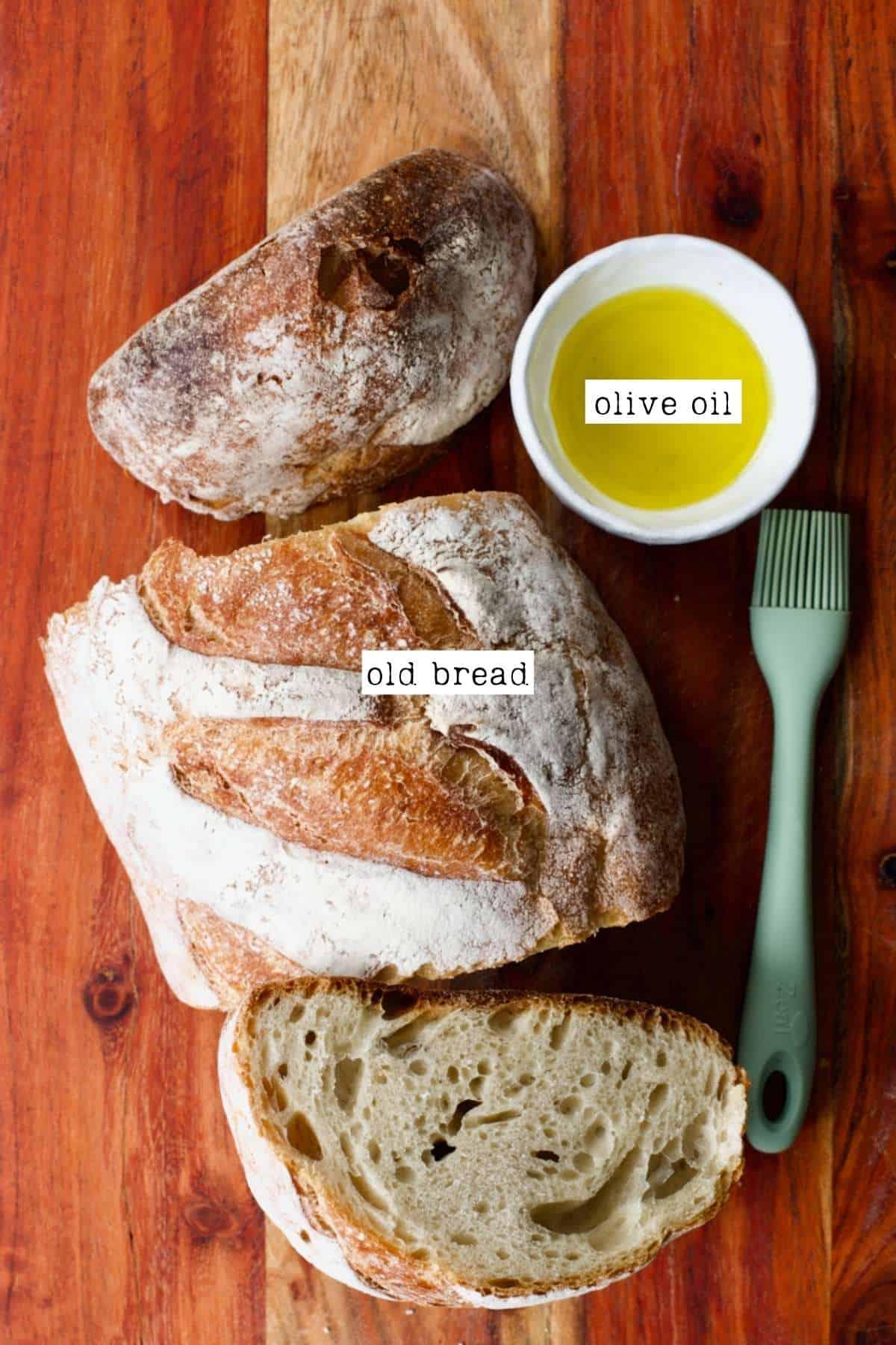 Bread and olive oil for Panzanella
