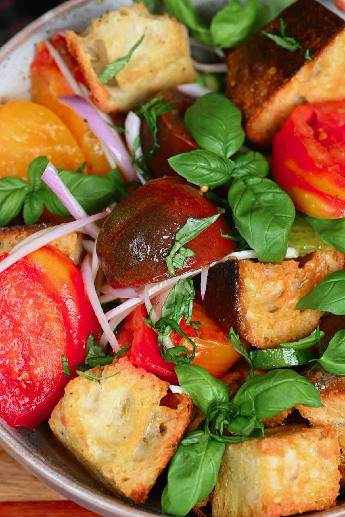 Panzanella salad in a bowl