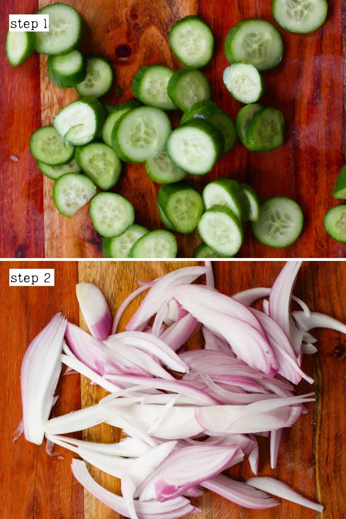 Sliced cucumber and onion