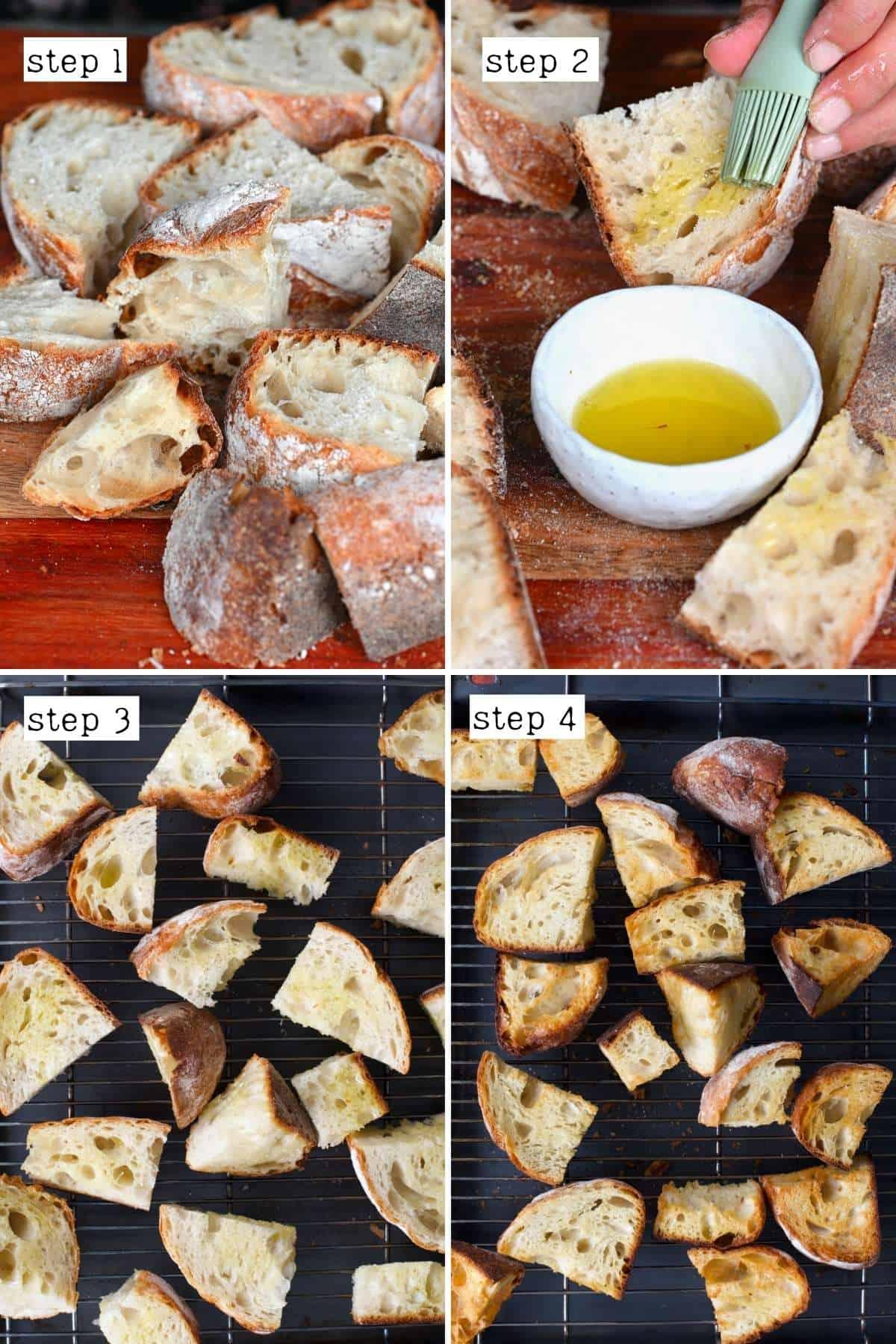 Steps for preparing bread for panzanella