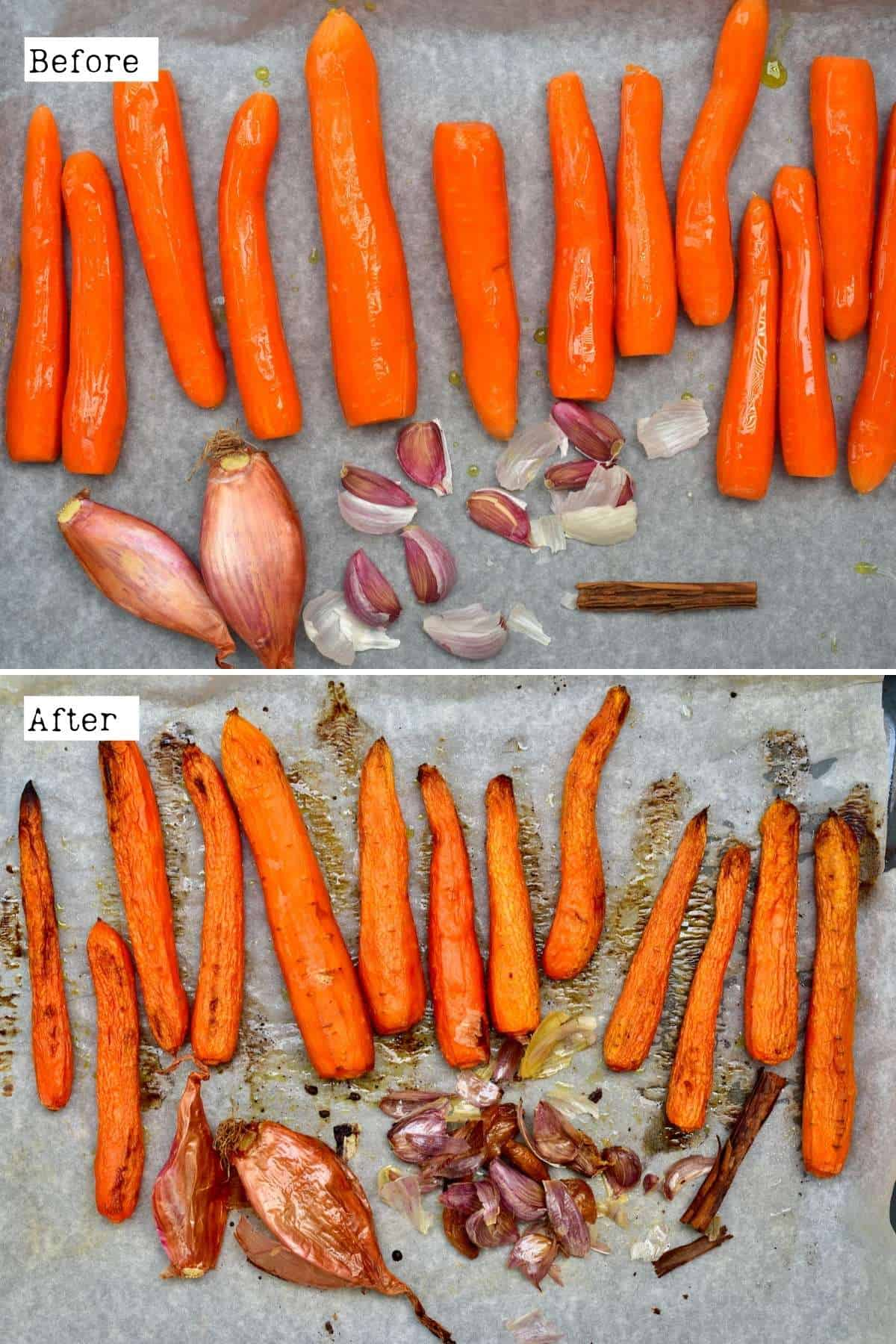 Before and after roasting carrots