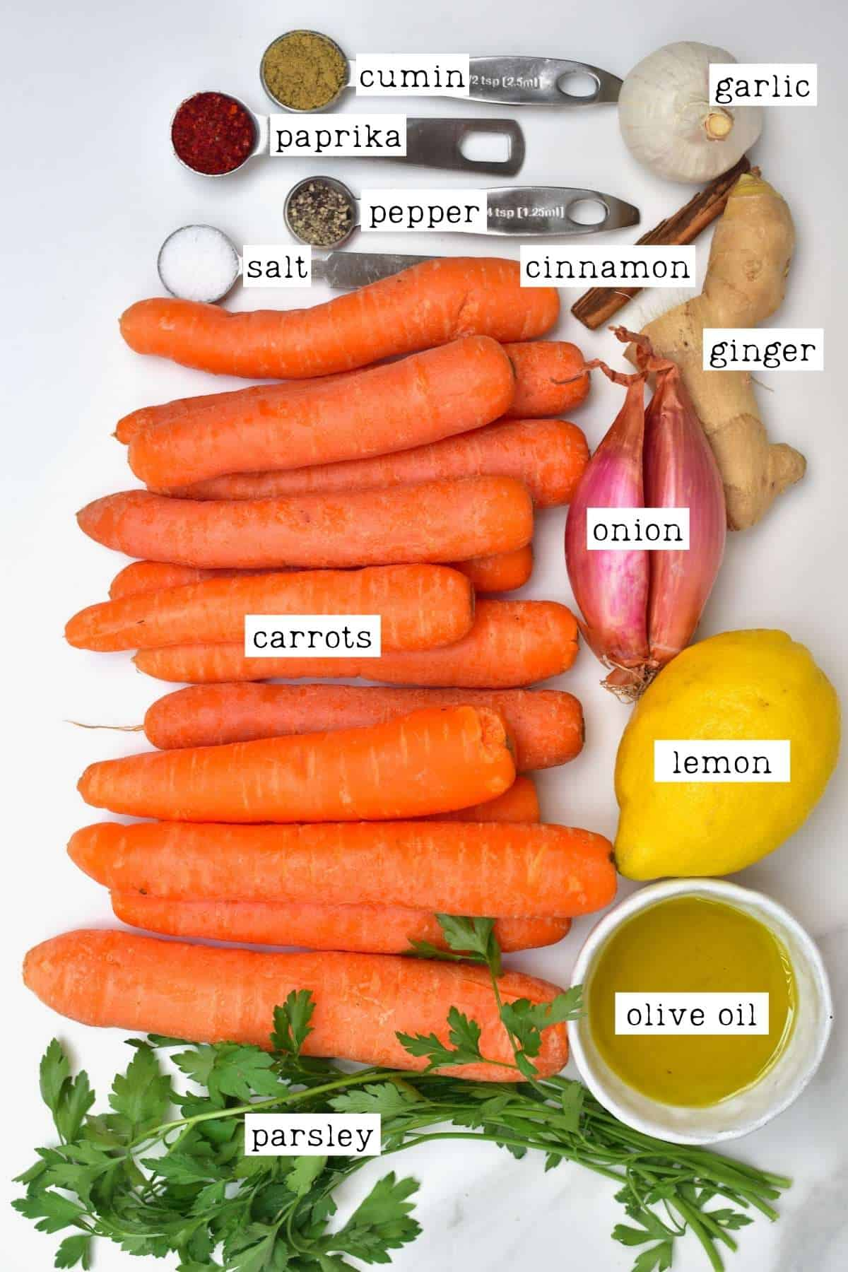 Ingredients for roasted carrot dip