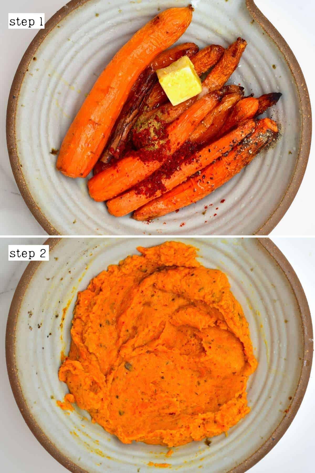 Steps for making roasted carrot dip