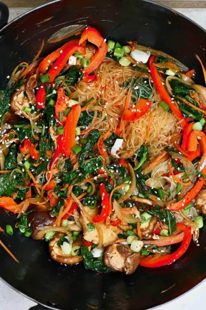 Japchae noodles in a pan