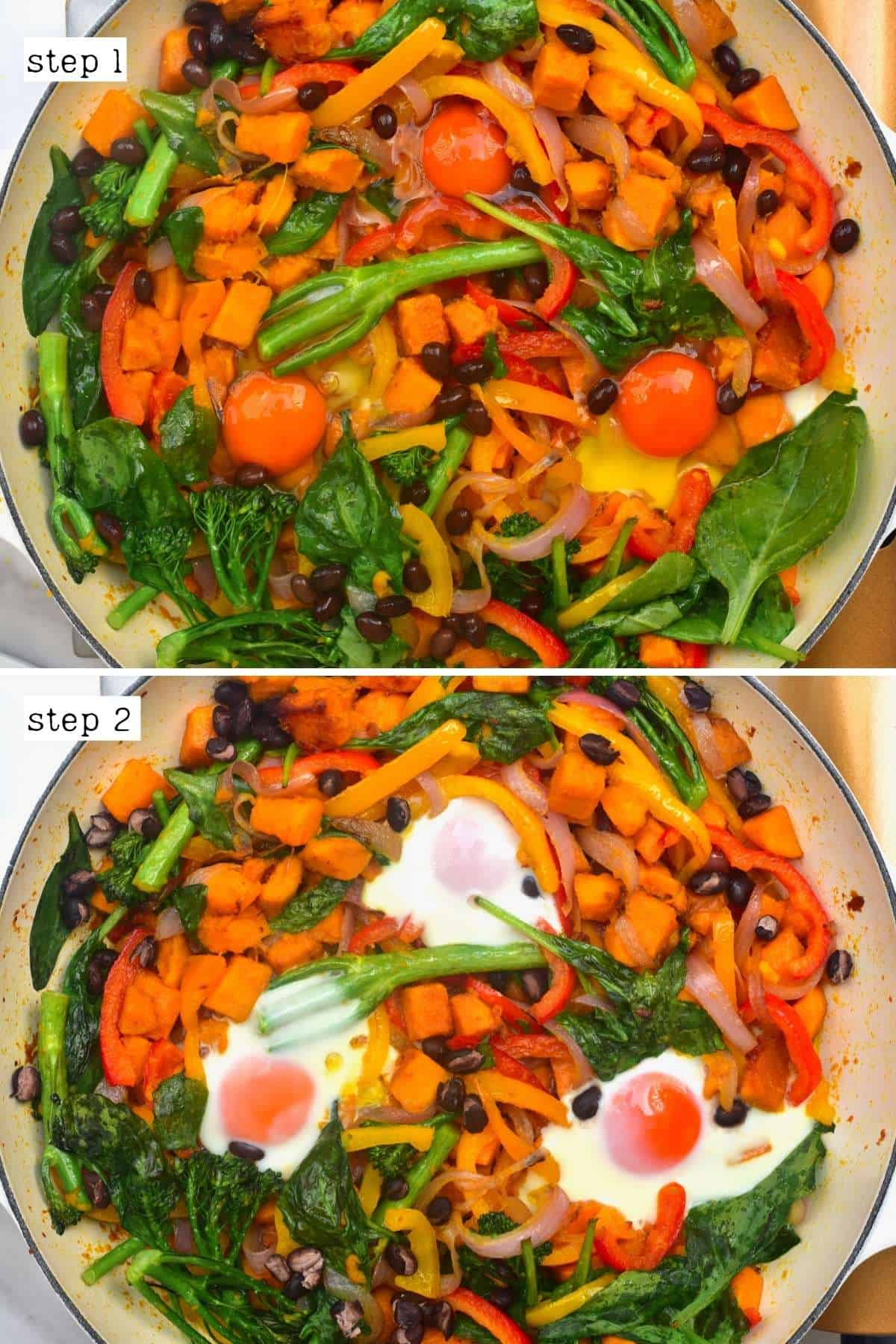 Steps for making sweet potato and egg hash