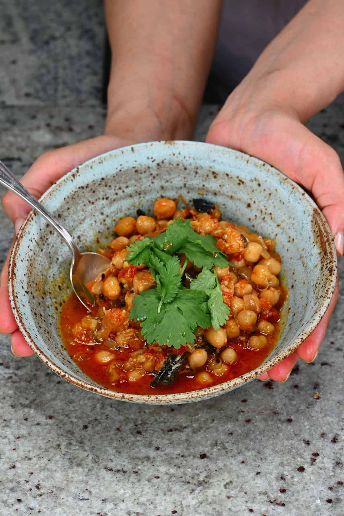 A bowl with chickpea curry