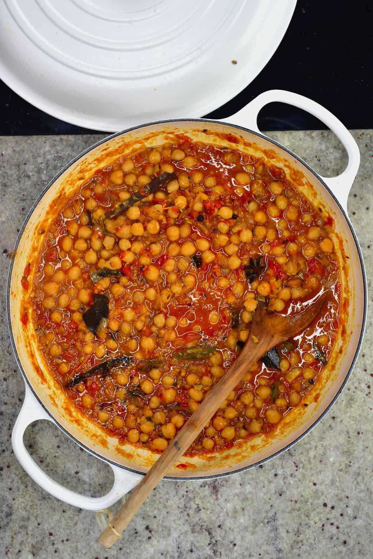 Chickpea curry in a pot