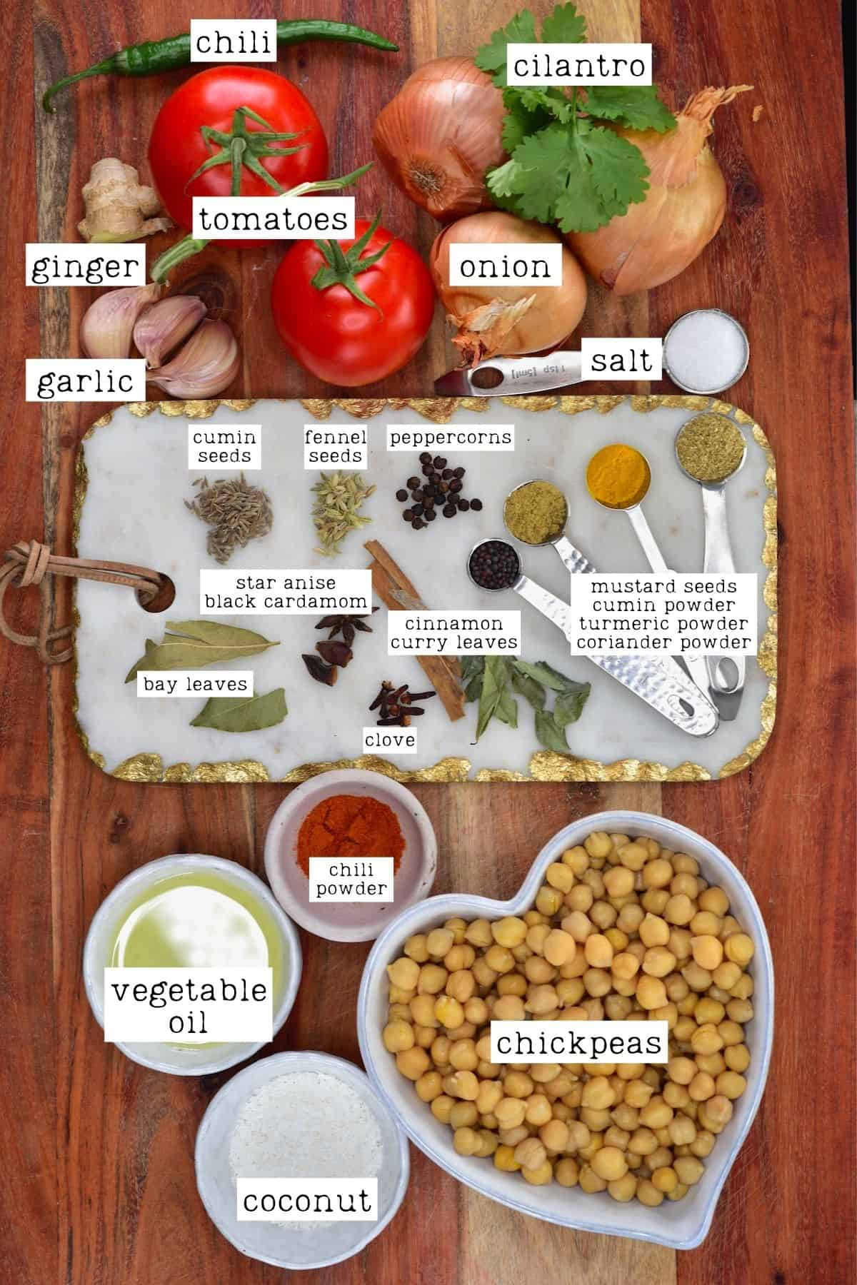 Ingredients for chickpea curry