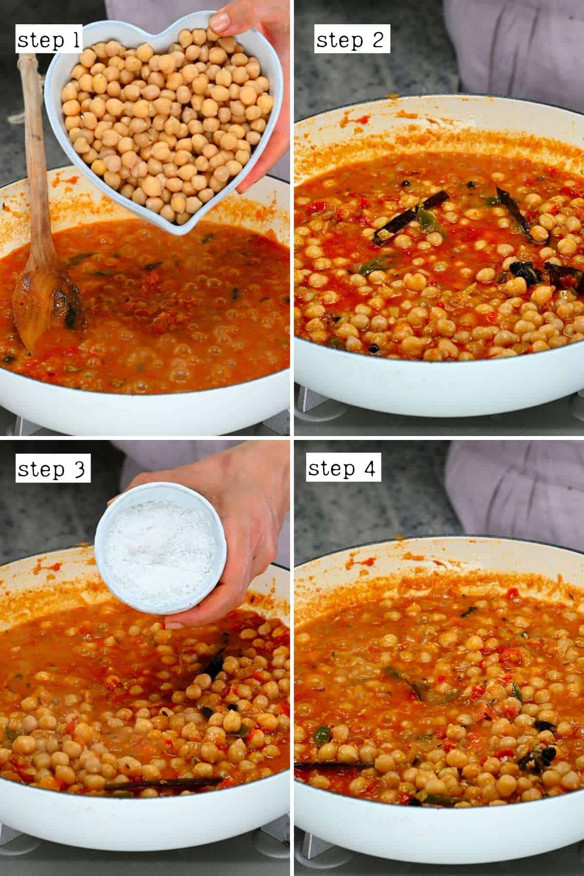 Steps for preparing chickpea curry