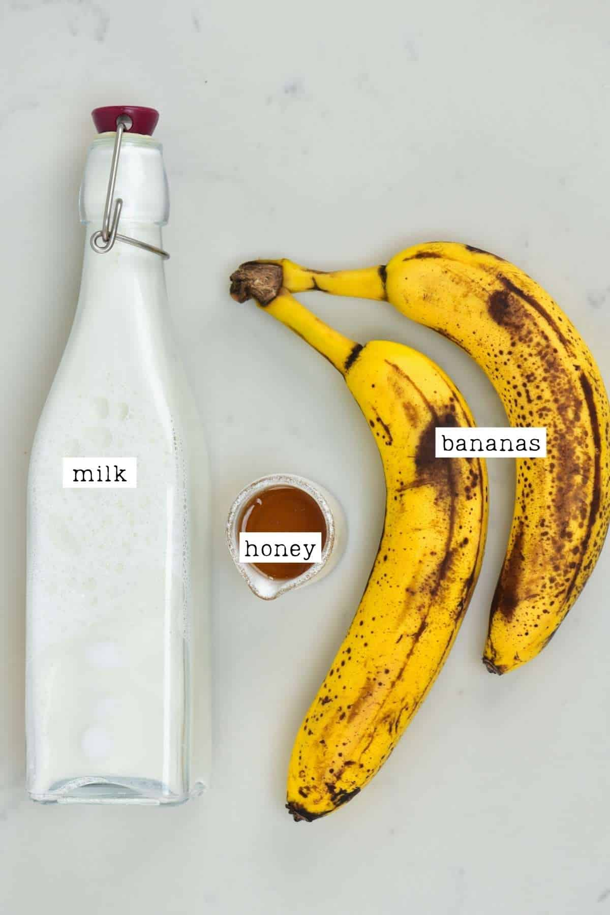 Ingredients for banana milkshake