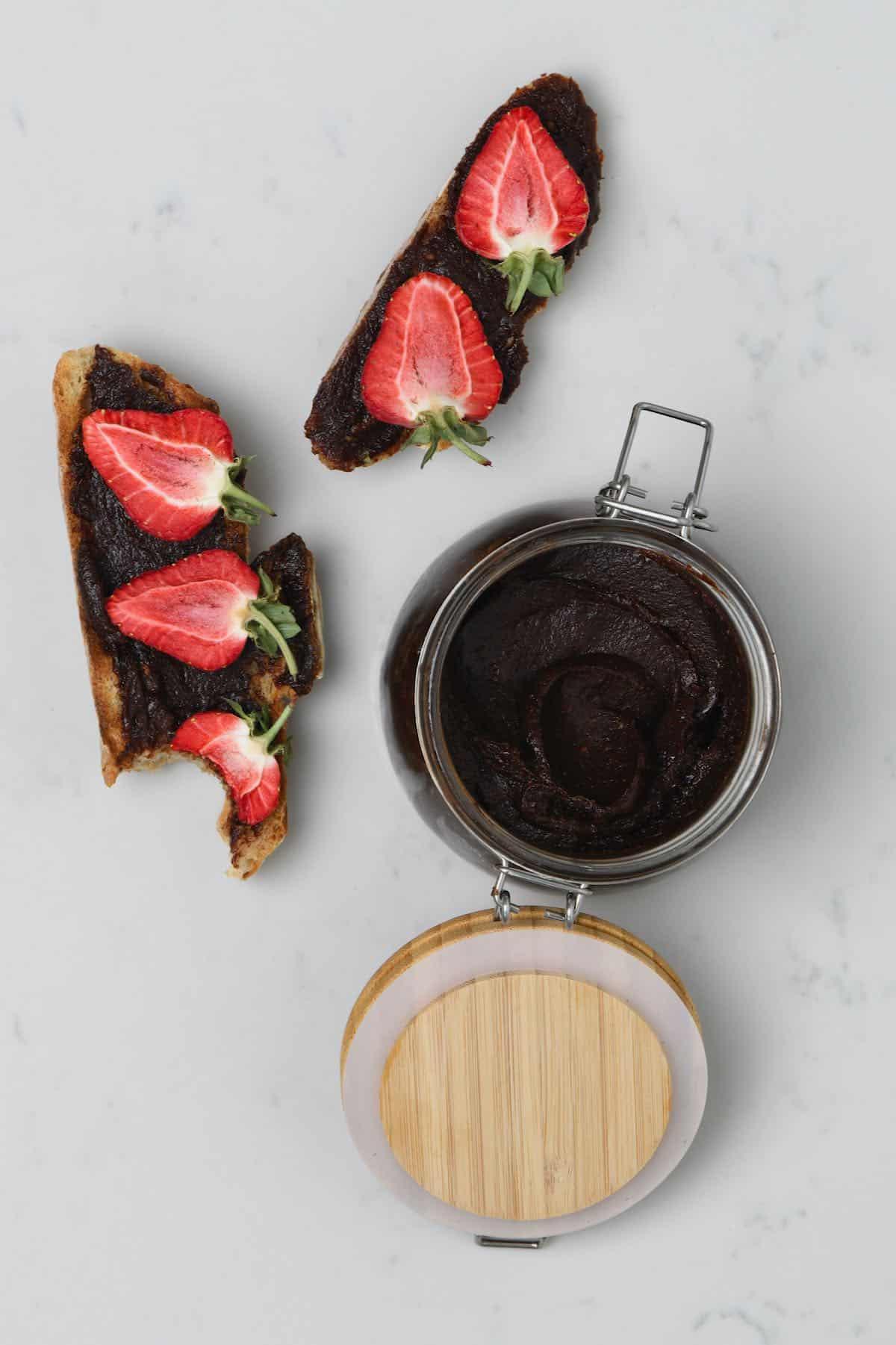 Brownie batter dip spread on toast