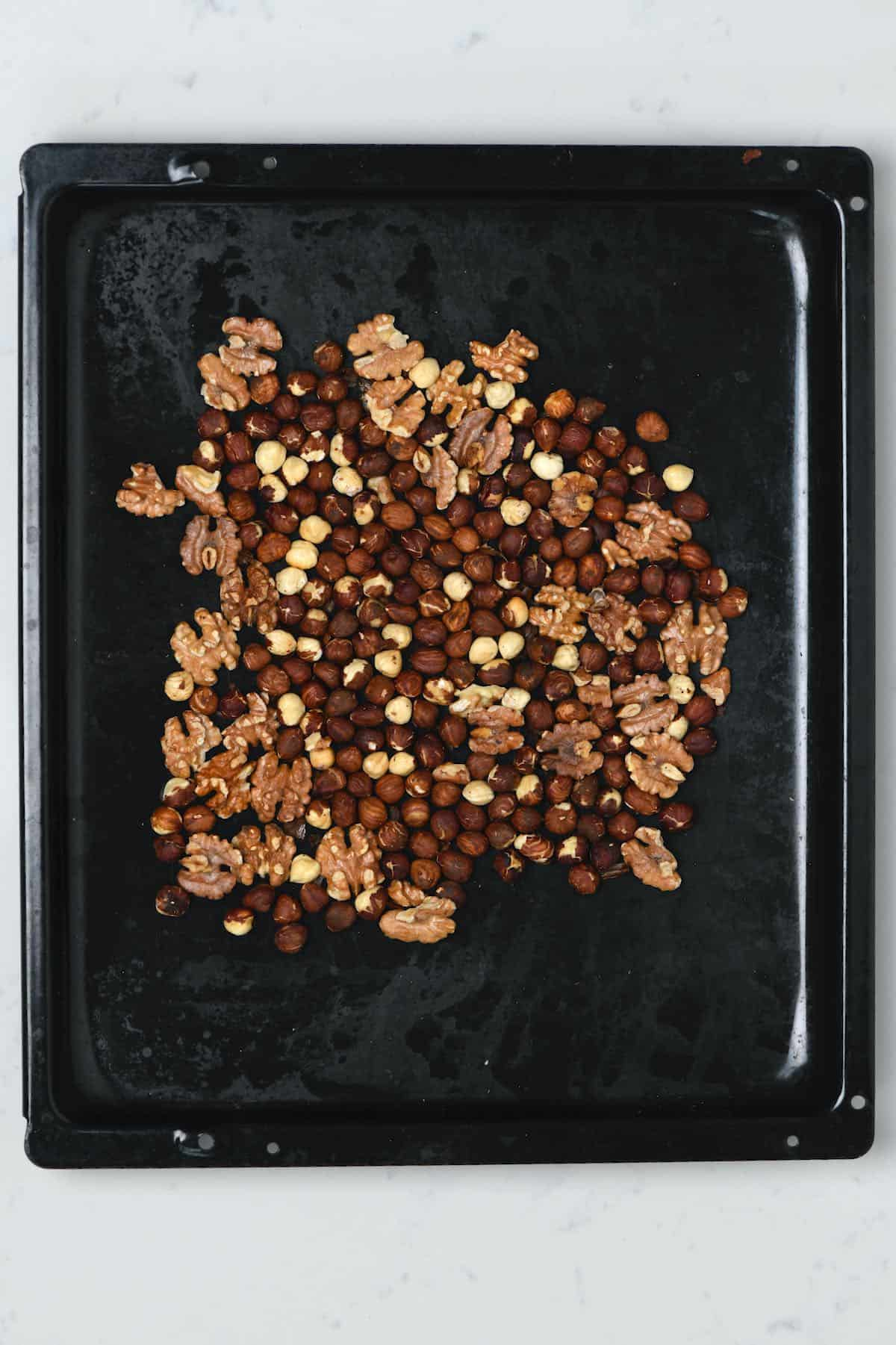Roasted nuts in a tray