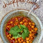 Authentic Chickpea Curry in a bowl