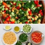 Chickpea salad in a large bowl and ingredients to make it