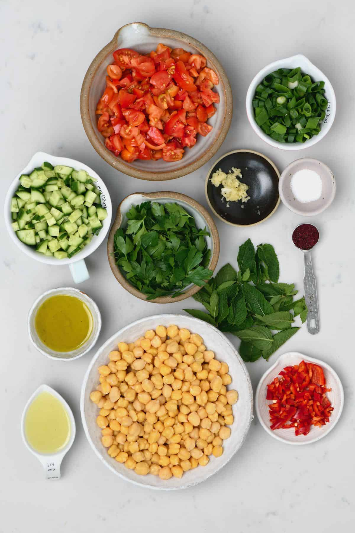 Chopped ingredients for chickpea salad