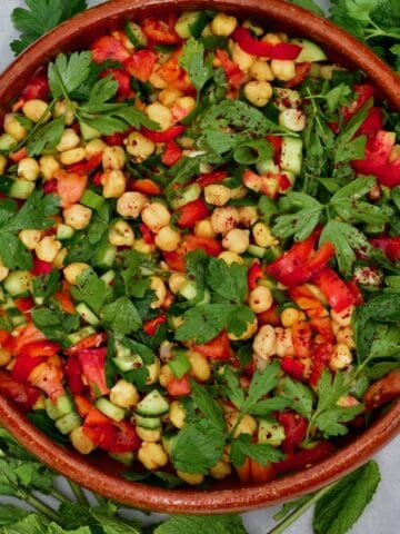 Chickpea salad in a large bowl
