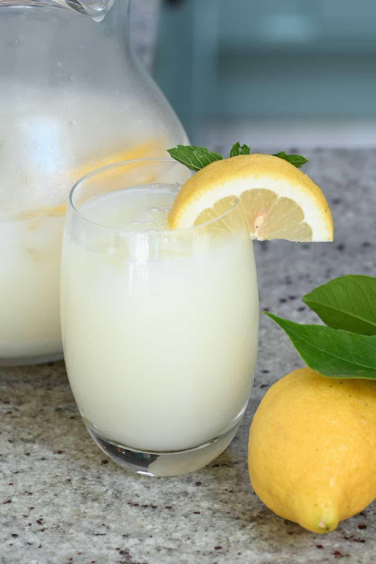 Creamy lemonade in a glass