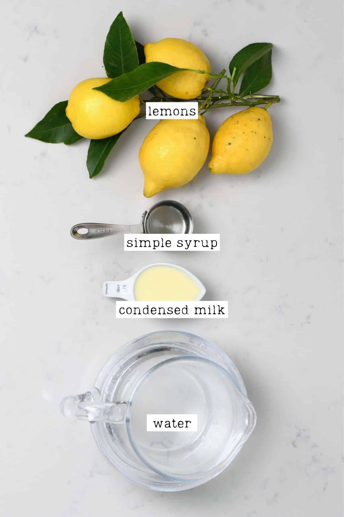 Ingredients for creamy lemonade