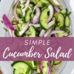 Cucumber onion salad served on a plate