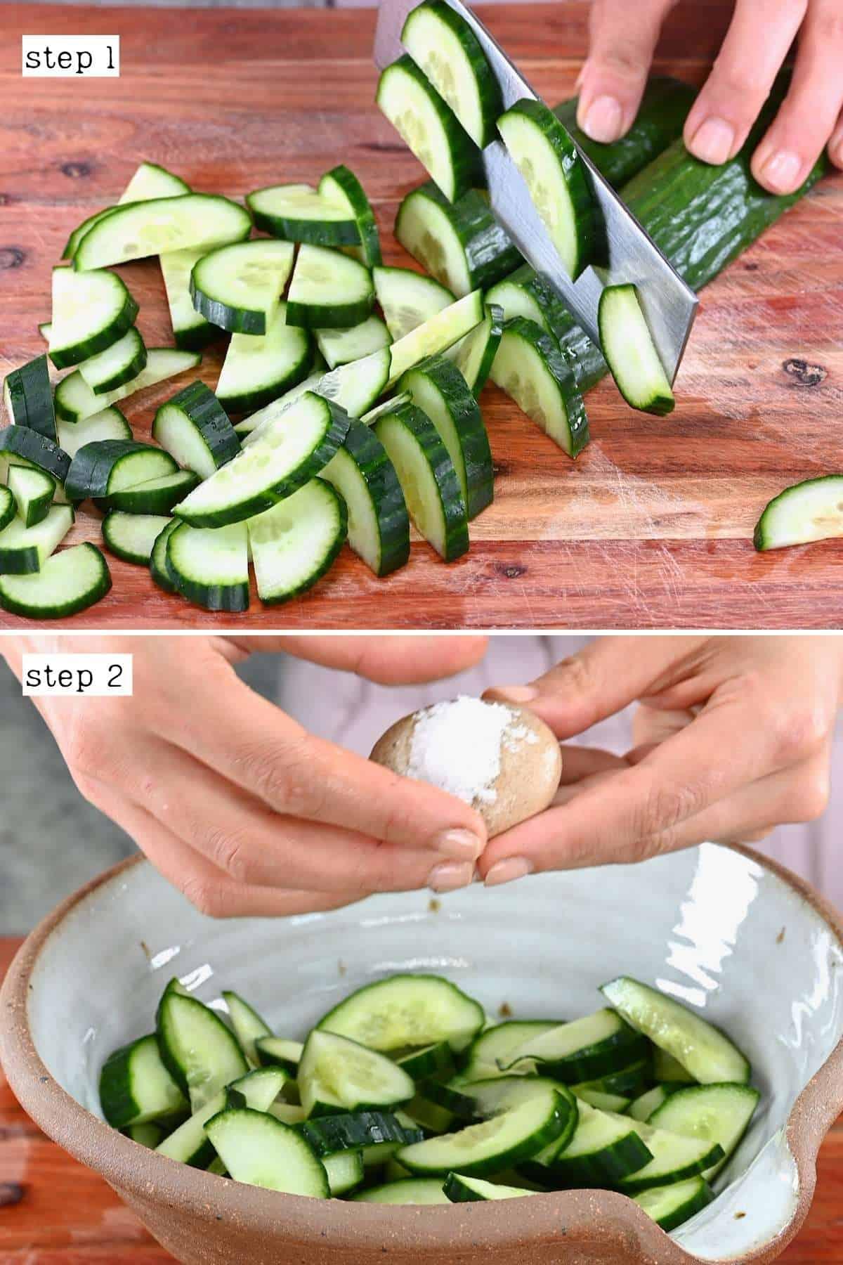 Cutting and salting cucumber