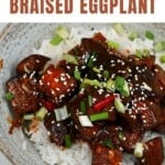 Braised eggplant over rice topped with spring onions and sesame seeds