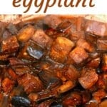 Braised eggplant in a pan