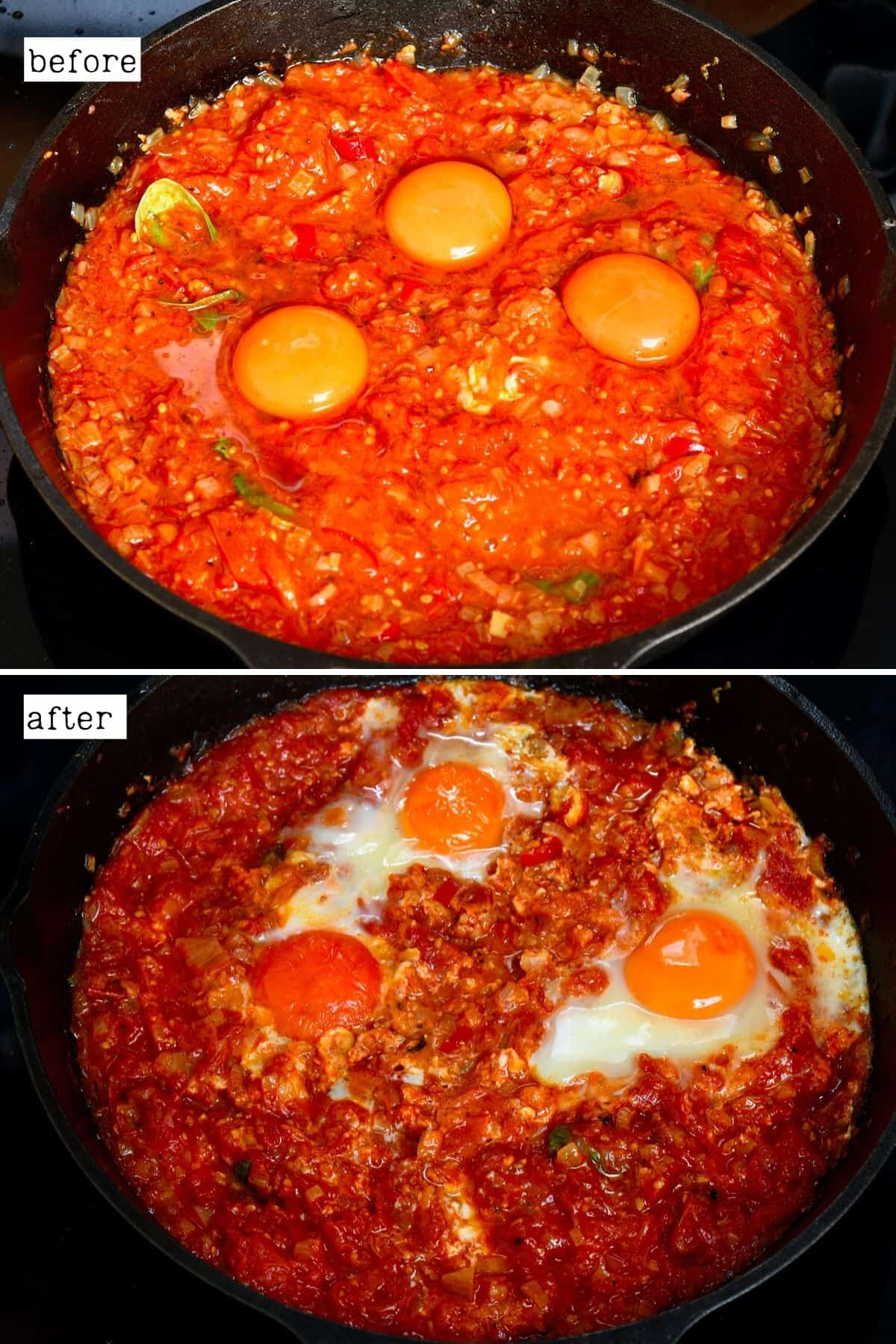 Before and after baking eggs in purgatory