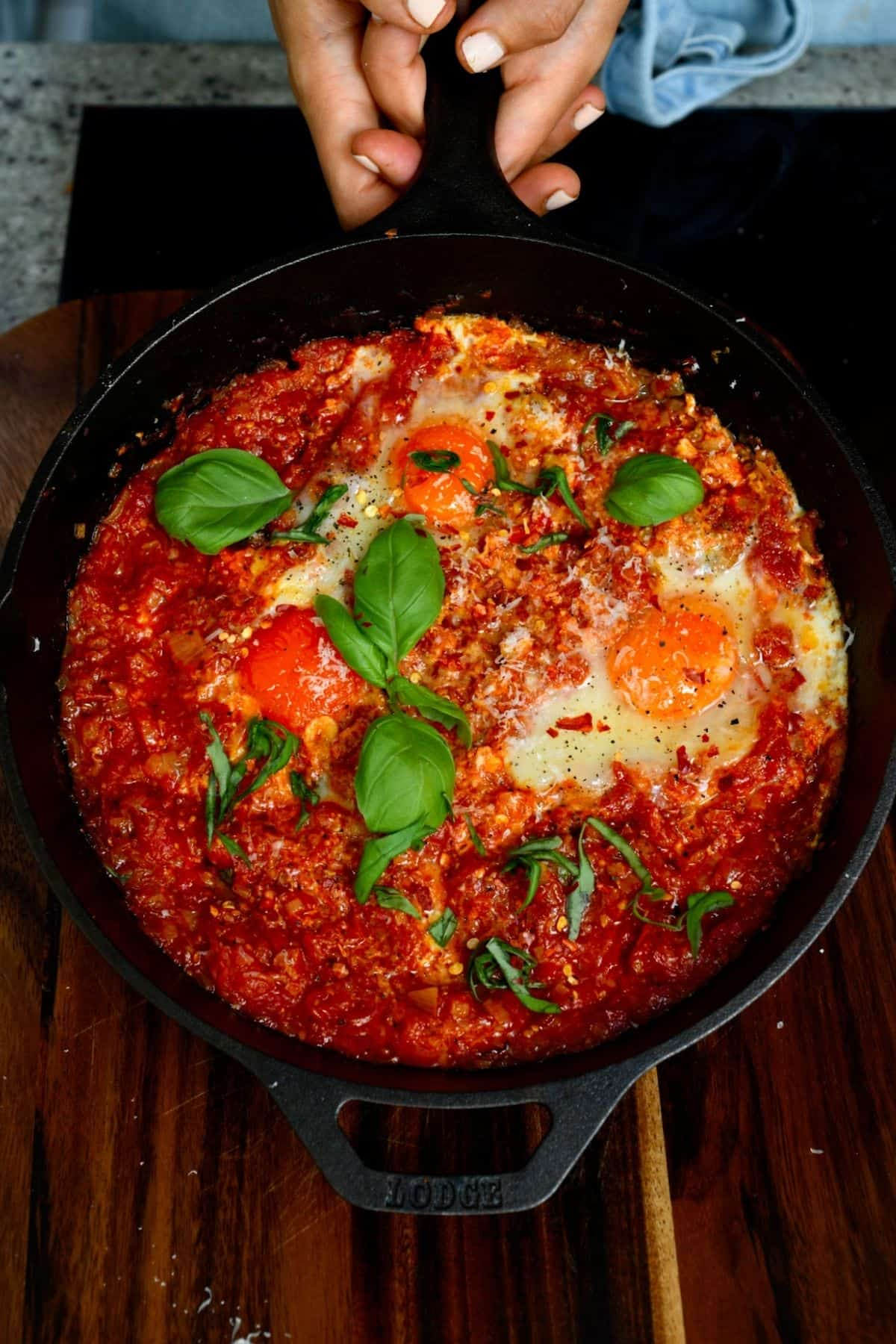 A skillet with eggs in purgatory