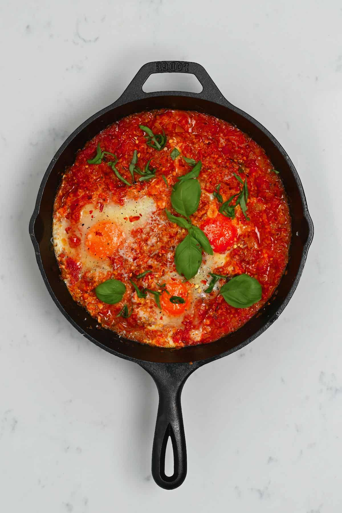 Eggs in purgatory in a pan