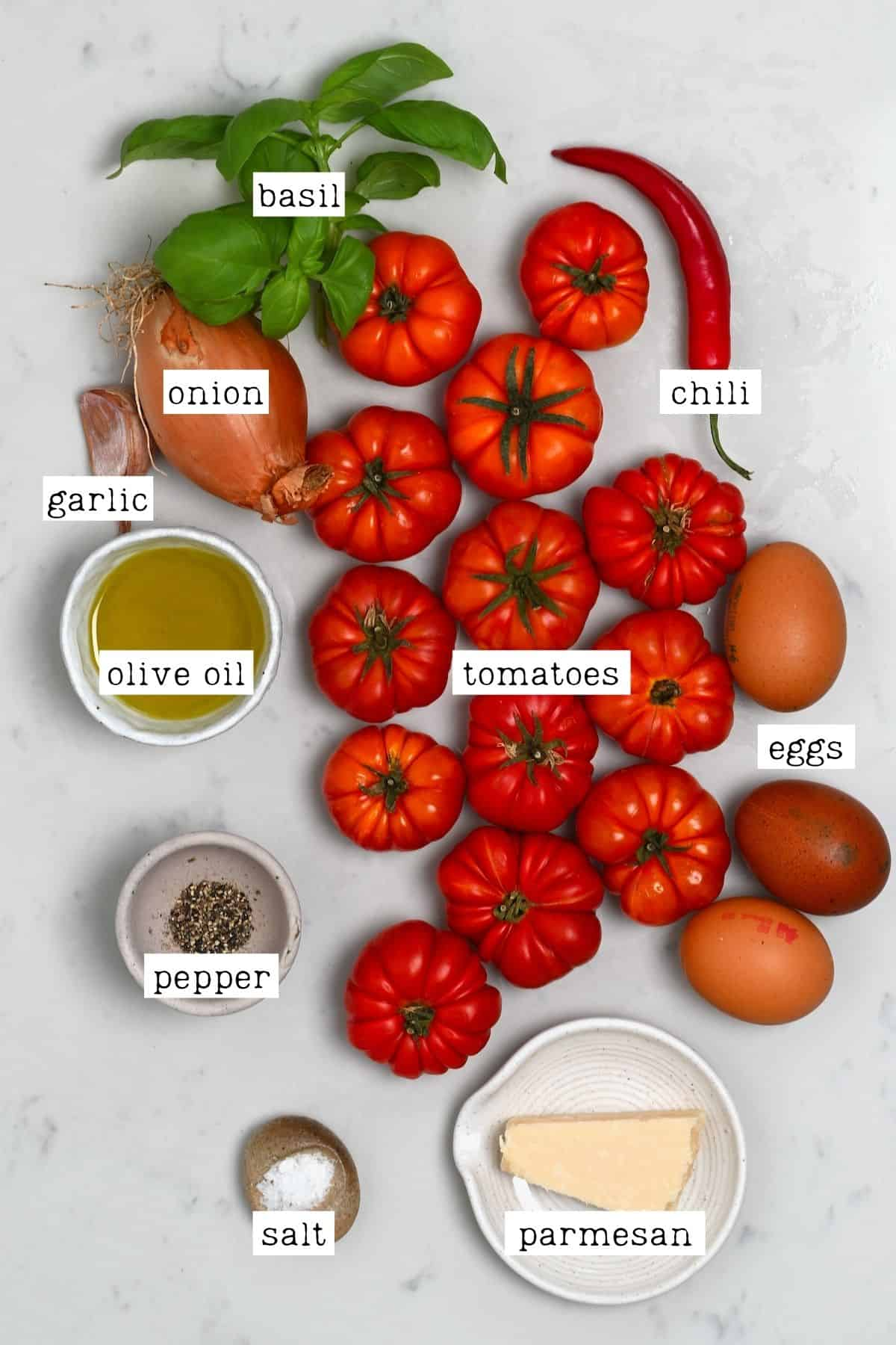 Ingredients for eggs in purgatory